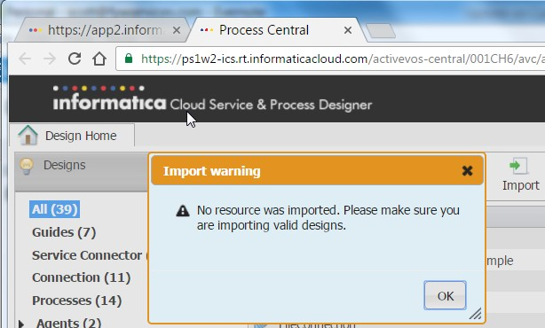 Import error message...