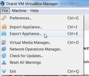 Export the VM Appliance