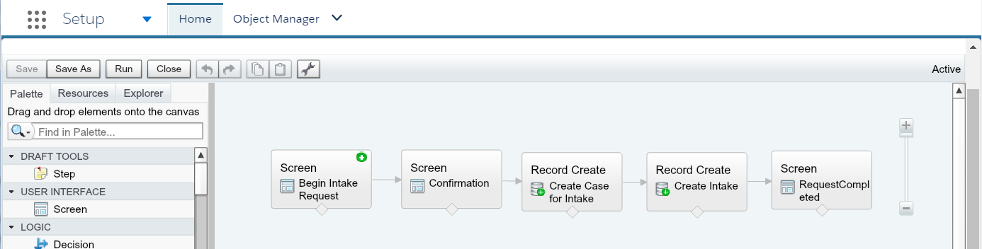A Visual Work Flow to take inputs and create a Case object and related custom object