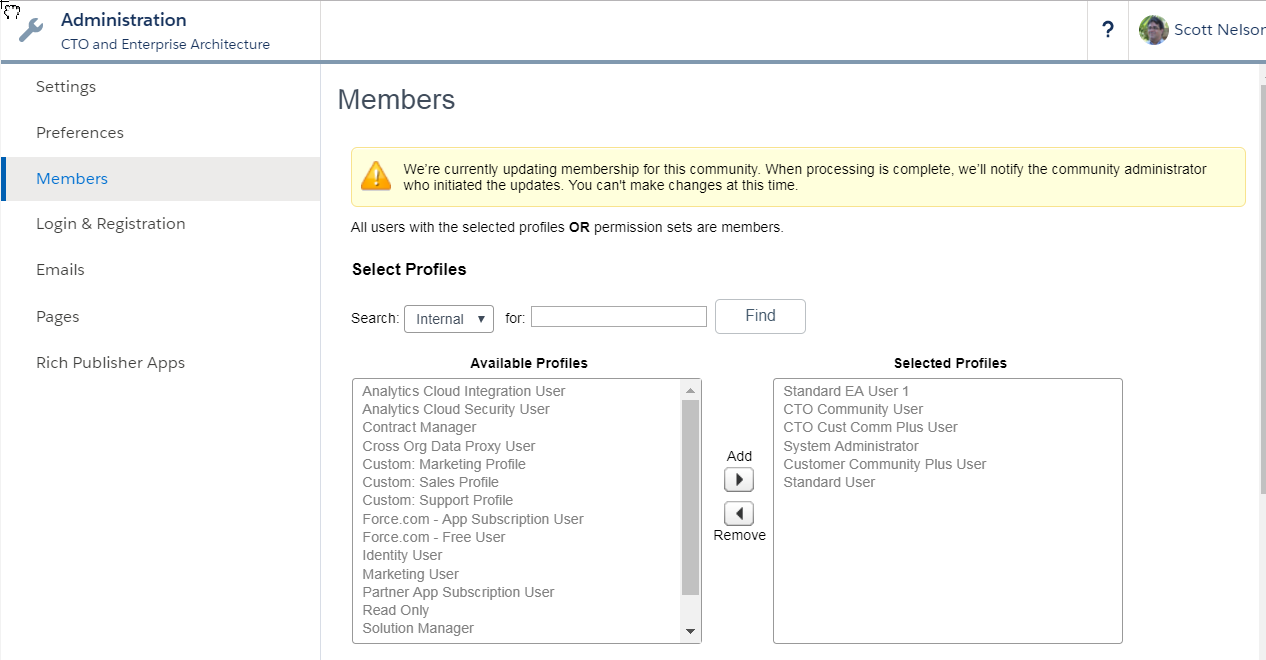 Granting access to a new profile in the Community Administration view.