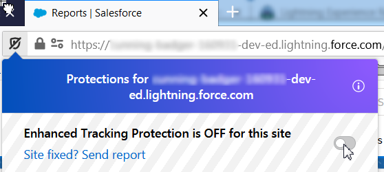 Turn of Enhanced Tracking Protection for SFDC Lightning